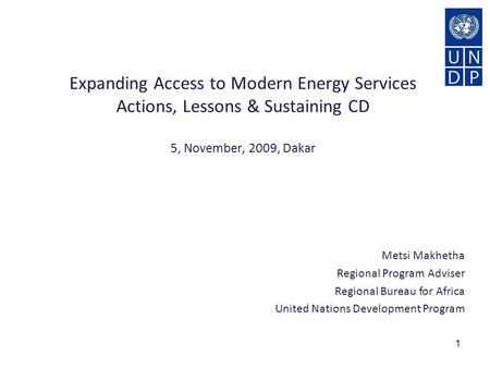 1 Metsi Makhetha Regional Program Adviser Regional Bureau for Africa United Nations Development Program Expanding Access to Modern Energy Services Actions,