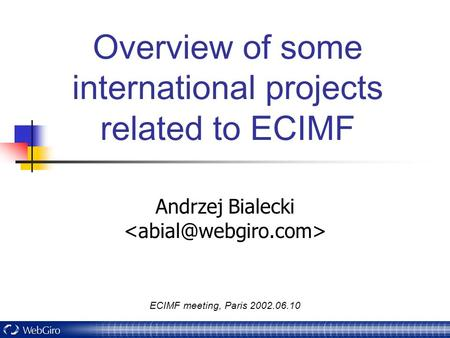 ECIMF meeting, Paris 2002.06.10 Overview of some international projects related to ECIMF Andrzej Bialecki.