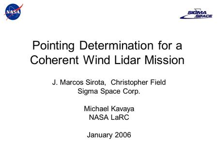 Pointing Determination for a Coherent Wind Lidar Mission