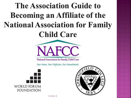 Drolette, E. The Association Guide to Becoming an Affiliate of the National Association for Family Child Care.