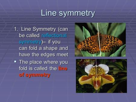 Line symmetry 1. Line Symmetry (can be called reflectional symmetry)– if you can fold a shape and have the edges meet  The place where you fold is called.
