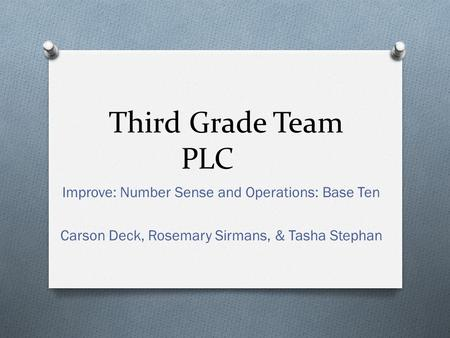 Third Grade Team PLC Improve: Number Sense and Operations: Base Ten Carson Deck, Rosemary Sirmans, & Tasha Stephan.