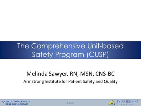 © 2011 Melinda Sawyer, RN, MSN, CNS-BC Armstrong Institute for Patient Safety and Quality The Comprehensive Unit-based Safety Program (CUSP)