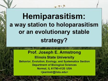 Hemiparasitism: a way station to holoparasitism or an evolutionary stable strategy? Prof. Joseph E. Armstrong Illinois State University Behavior, Evolution,