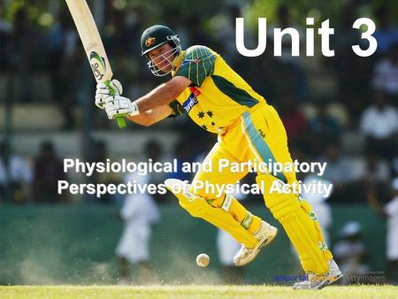 Unit 3 Physiological and Participatory Perspectives of Physical Activity.