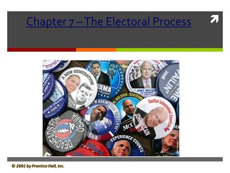  © 2001 by Prentice Hall, Inc. Chapter 7 – The Electoral Process.