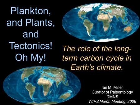 Ian M. Miller Curator of Paleontology DMNS WIPS March Meeting, 2008 Plankton, and Plants, and Tectonics! Oh My! The role of the long- term carbon cycle.