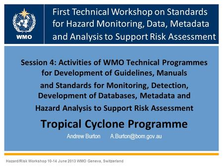 Session 4: Activities of WMO Technical Programmes for Development of Guidelines, Manuals and Standards for Monitoring, Detection, Development of Databases,