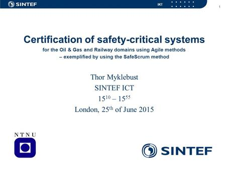 Certification of safety-critical systems
