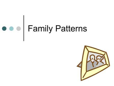"Family Patterns. Introduction Write down 5 things that you think of when I say the word ""Family."" Where do our images of what a family is come from?"