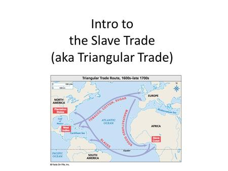 Intro to the Slave Trade (aka Triangular Trade). Warm-up 4/20 What is slavery?