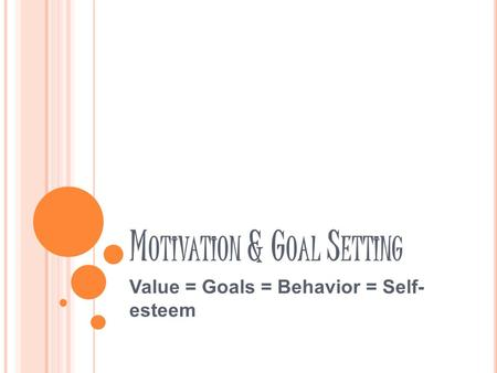 M OTIVATION & G OAL S ETTING Value = Goals = Behavior = Self- esteem.