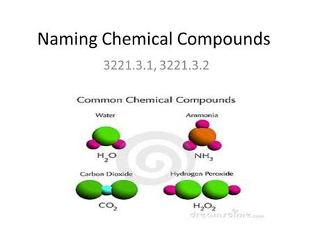 Naming Chemical Compounds 3221.3.1, 3221.3.2. Objectives TLW write chemical formulas of ionic and molecular compounds. TLW name chemical compounds using.