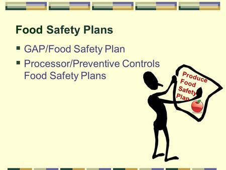 Food Safety Plans  GAP/Food Safety Plan  Processor/Preventive Controls Food Safety Plans Produce Food Safety Plan.