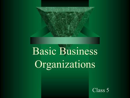 Basic Business Organizations Class 5. Starting a Business  The first question: –What form should the business take? Sole proprietorship Partnership Corporation.
