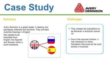 Case Study SummaryChallenges Avery Dennison is a global leader in labeling and packaging materials and solutions. They provided AutoCad drawings in English.