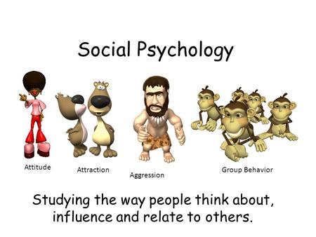 Social Psychology Studying the way people think about, influence and relate to others. Attitude Attraction Aggression Group Behavior.