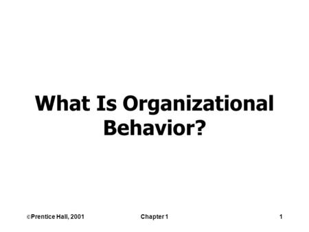 ©Prentice Hall, 2001Chapter 11 What Is Organizational Behavior?
