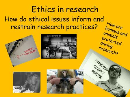 Ethics in research How do ethical issues inform and restrain research practices? How are humans and animals protected during research?