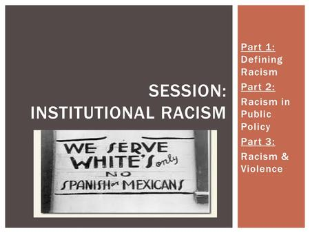Part 1: Defining Racism Part 2: Racism in Public Policy Part 3: Racism & Violence SESSION: INSTITUTIONAL RACISM.