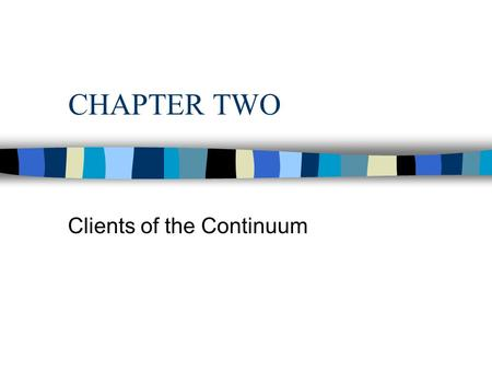 CHAPTER TWO Clients of the Continuum. Subsets of LTC Clients n Functional Status n Need vs. Demand n Static vs. Dynamic n Short-Term LTC vs. Long-Term.
