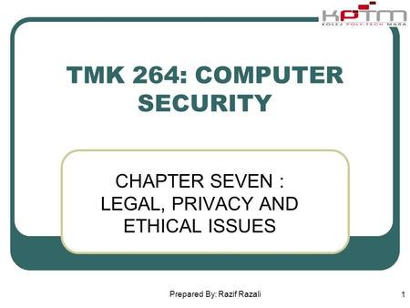ethical legal and security issues related Issues related to information security, and about several professional organizations with estab- lished codes of ethics use this chapter as both a reference to the legal aspects of information.