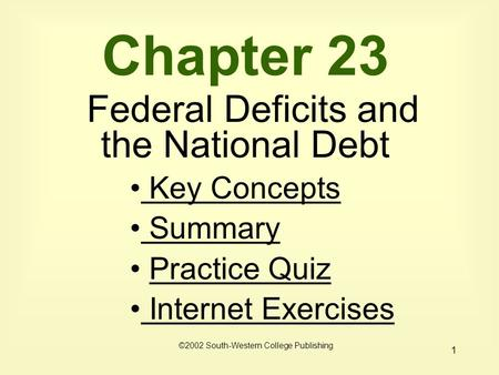 1 Chapter 23 Federal Deficits and the National Debt Key Concepts Key Concepts Summary Practice Quiz Internet Exercises Internet Exercises ©2002 South-Western.