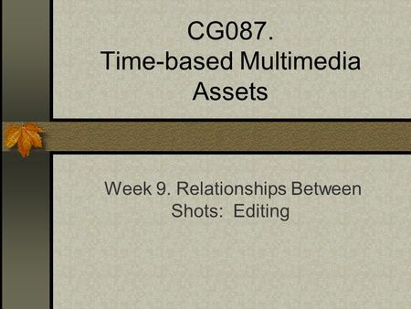 CG087. Time-based Multimedia Assets Week 9. Relationships Between Shots: Editing.
