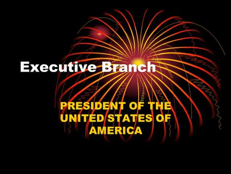Executive Branch PRESIDENT OF THE UNITED STATES OF AMERICA.