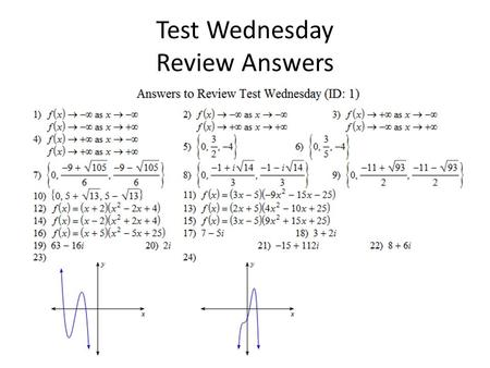Test Wednesday Review Answers.