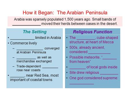 Arabia was sparsely populated 1,500 years ago. Small bands of ______________ moved their herds between oases in the desert. ____________ limited in Arabia.