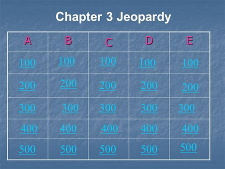 AB C DE Chapter 3 Jeopardy 200 100 200 300300 100 200 300 400 500 300 400.