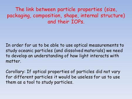 The link between <strong>particle</strong> properties (<strong>size</strong>, packaging, composition, shape, internal structure) and their IOPs. In order for us to be able to use optical.
