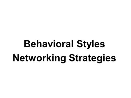 Behavioral Styles Networking Strategies. Objectives Introduction of BS3 Forming the Profile Understanding your Profile results Profiling others Adapting.