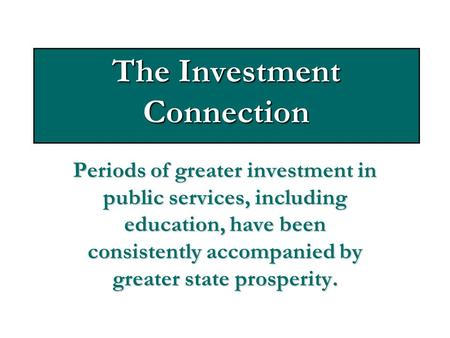 The Investment Connection Periods of greater investment in public services, including education, have been consistently accompanied by greater state prosperity.