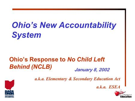 Ohio's New Accountability System Ohio's Response to No Child Left Behind (NCLB) a.k.a. Elementary & Secondary Education Act a.k.a. ESEA January 8, 2002.