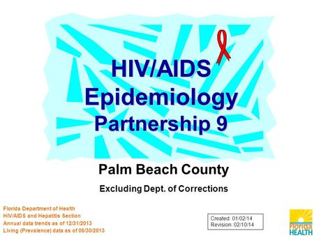 Palm Beach County Excluding Dept. of Corrections HIV/AIDS Epidemiology Partnership 9 Florida Department of Health HIV/AIDS and Hepatitis Section Annual.