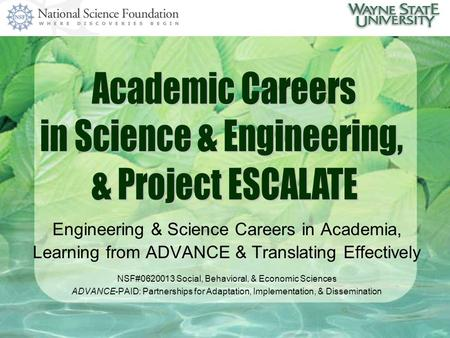 Engineering & Science Careers in Academia, Learning from ADVANCE & Translating Effectively NSF#0620013 Social, Behavioral, & Economic Sciences ADVANCE-PAID: