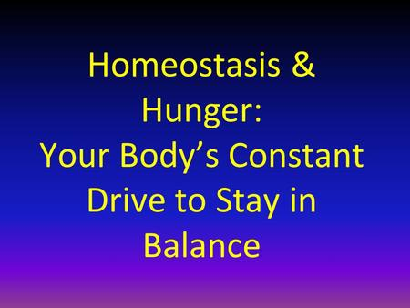 Homeostasis & Hunger: Your Body's Constant Drive to Stay in Balance.