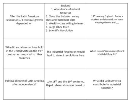 After the Latin American Revolutions / Economic growth depended on England 1. Abundance of natural resources 2. Close ties between ruling class and merchant.