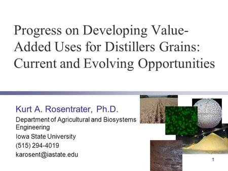 Progress on Developing Value- Added Uses for Distillers Grains: Current and Evolving Opportunities Kurt A. Rosentrater, Ph.D. Department of Agricultural.