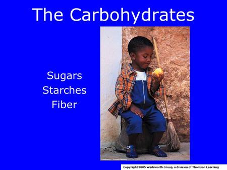The Carbohydrates Sugars Starches Fiber Copyright 2005 Wadsworth Group, a division of Thomson Learning.