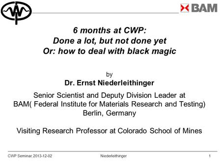6 months at CWP: Done a lot, but not done yet Or: how to deal with black magic by Dr. Ernst Niederleithinger Senior Scientist and Deputy Division Leader.