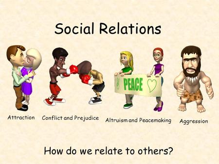 Social Relations How do we relate to others? Attraction Conflict and Prejudice Altruism and Peacemaking Aggression.