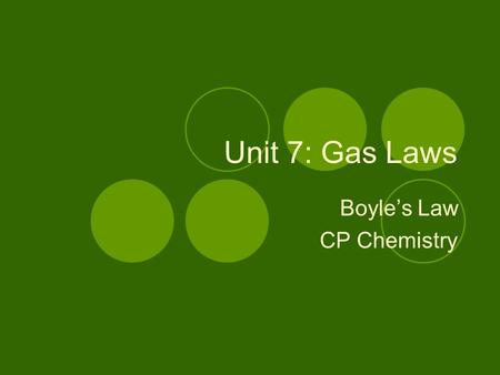 Unit 7: Gas Laws Boyle's Law CP Chemistry. Boyle's Law At constant temperature, the volume of a given amount of gas varies inversely with the pressure.