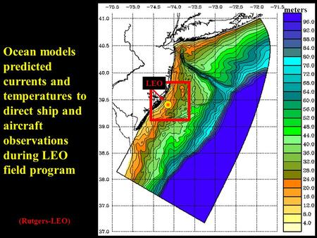 LEO meters Ocean models predicted currents and temperatures to direct ship and aircraft observations during LEO field program (Rutgers-LEO)