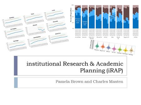 Institutional Research & Academic Planning (iRAP) Pamela Brown and Charles Masten.