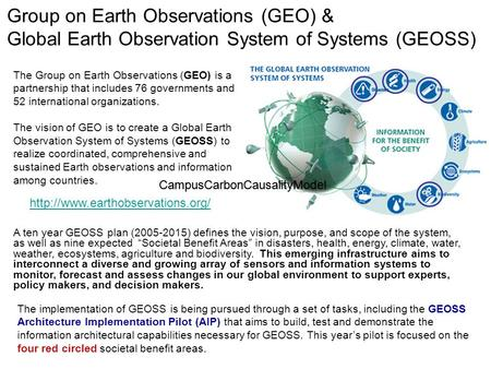 Group on Earth Observations (GEO) & Global Earth Observation System of Systems (GEOSS)  A ten year GEOSS plan (2005-2015)