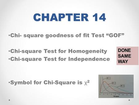 "CHAPTER 14 Chi- square goodness of fit Test ""GOF"" Chi-square Test for Homogeneity Chi-square Test for Independence Symbol for Chi-Square is χ 2 DONE SAME."