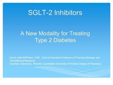 A New Modality for Treating Type 2 Diabetes